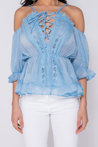 Light Blue Lace Trim Tie Up Front Cold Shoulder Blouse