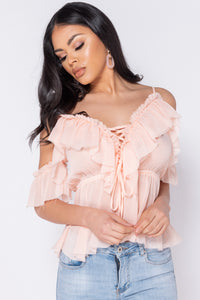Nude Frill Detail Tie Front Cold Shoulder Blouse Top