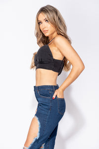 Charcoal Bustier Detail Stretch Denim Strappy Crop Top