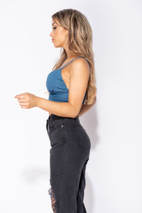 Mid blue Stretch Denim Strappy Crop Top