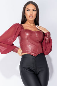 Wine PU Corset Detail Top With Sheer Sleeves