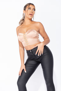 Bronze Satin Hook & Eye Bustier Bandeau Crop Top