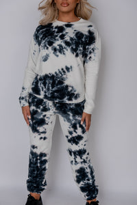 Black Tie Dye Sweatshirt & Jogger Lounge Set