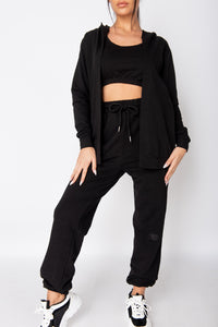 Black 3 Piece Hoody & Jogger Lounge Set