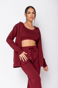 Wine 3 Piece Hoody & Jogger Lounge Set