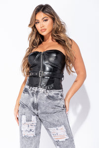 Black Faux Leather Zip Front Bandeau Top