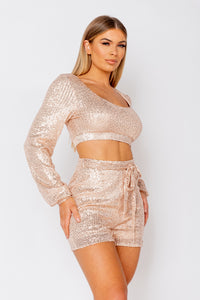 Nude Crop Top & Shorts Sequin Co-Ord Set