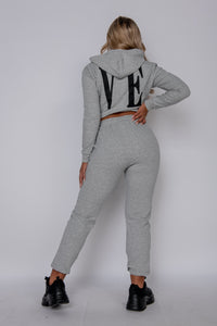 Grey Love Hoodie & Jogger Lounge Set