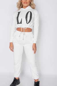 Off White Love Hoodie & Jogger Lounge Set