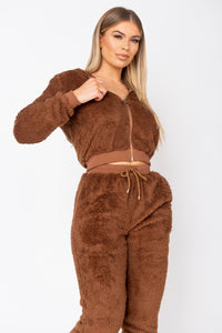 Brown Teddy Borg Cropped Top & Jogger Lounge Set