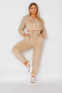 Camel Teddy Borg Cropped Top & Jogger Lounge Set