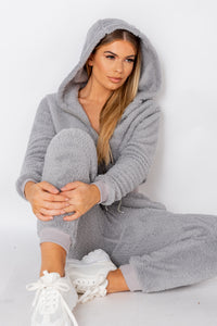 Grey Teddy Borg Cropped Top & Jogger Lounge Set
