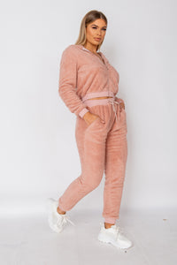 Pink Teddy Borg Cropped Top & Jogger Lounge Set