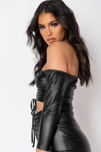 Black Wet Look Ruched Crop Top And Mini Skirt
