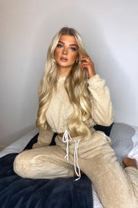 Beige Teddy Borg Cropped Hoodie & Jogger Lounge Set