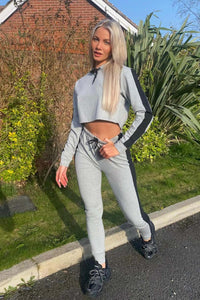 Grey Black Stripe Side Cropped Hoodie & Jogger Set