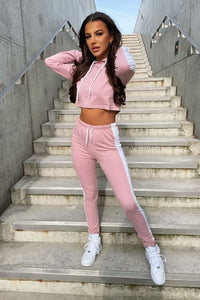 Pink White Stripe Side Cropped Hoodie & Jogger Set