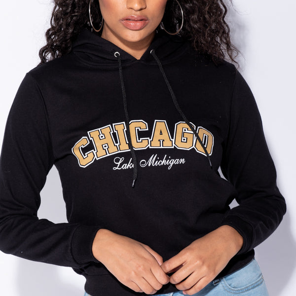 Stockists of Black Chicago Print Hooded Top