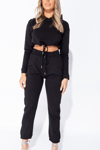 Black Cropped Hoodie & Jogger Lounge Set