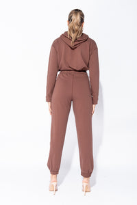 Brown Cropped Hoodie & Jogger Lounge Set