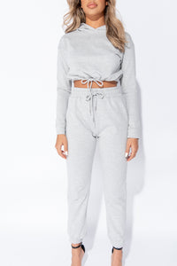 Grey Cropped Hoodie & Jogger Lounge Set