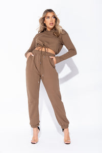 Olive Cropped Hoodie & Jogger Lounge Set
