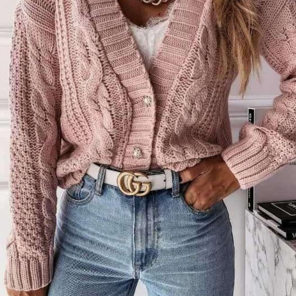 Rose Cable Knit Domed Botton Cropped Cardigan