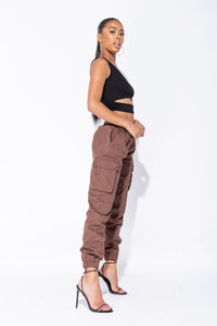 Brown Elasticated Waist Cargo Trouser