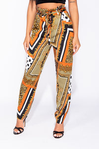 Black Abstract Scarf Print Paper Bag Waist Tapered Hem Trousers