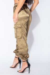 Olive Satin Tie Pocket Detail Utility Trousers