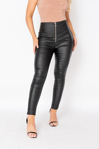 Black Coated Exposed Zip Skinny Trousers