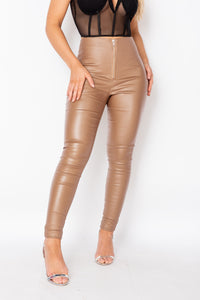 Camel Coated Exposed Zip Skinny Trousers