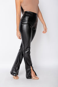 Black Faux Leather Split Front Flare Trousers