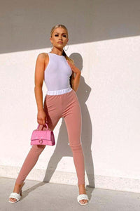 Pink White Contrast Side Stripe Trouser