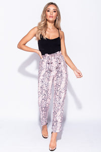 Pink Snake Print Paperbag Waist Belted Trousers