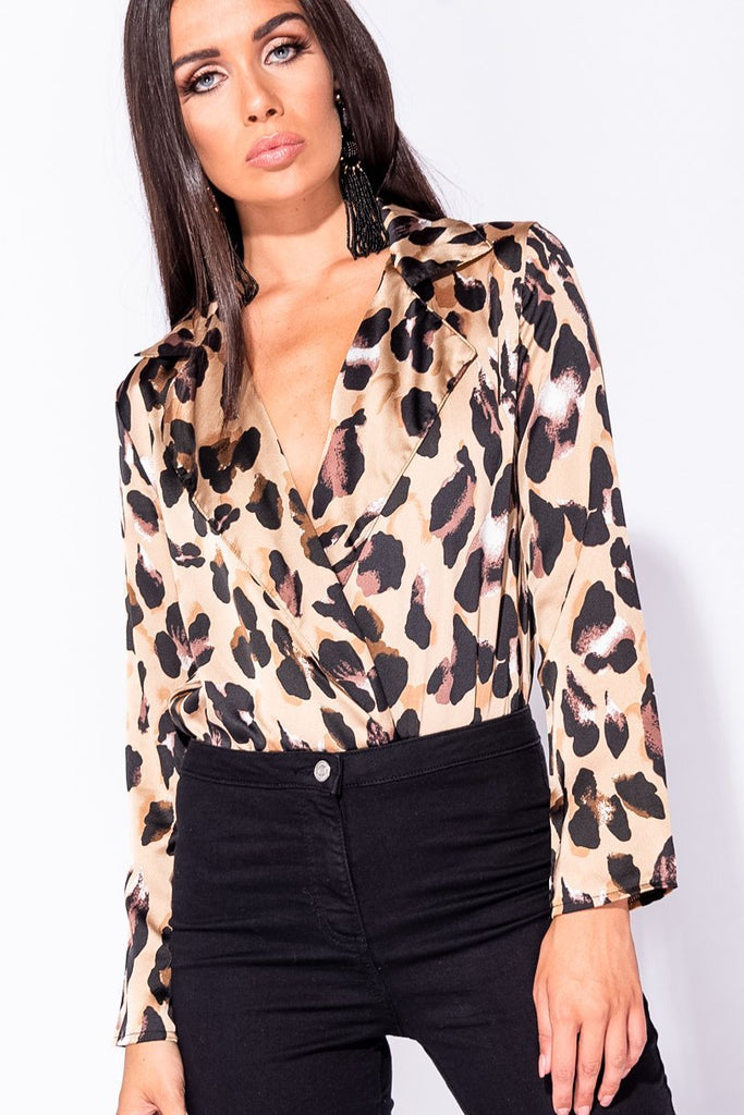 Image: Brown  Leopard Print Wrapfront Satin Bodysuit - Parisian-uk