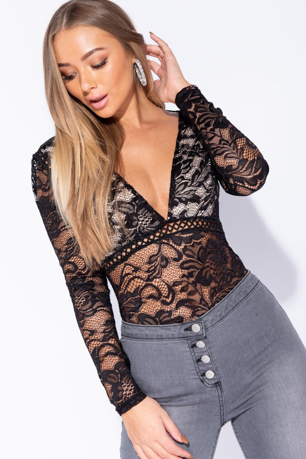 Image: Black Lace Plunge V Neck Long Sleeve Bodysuit