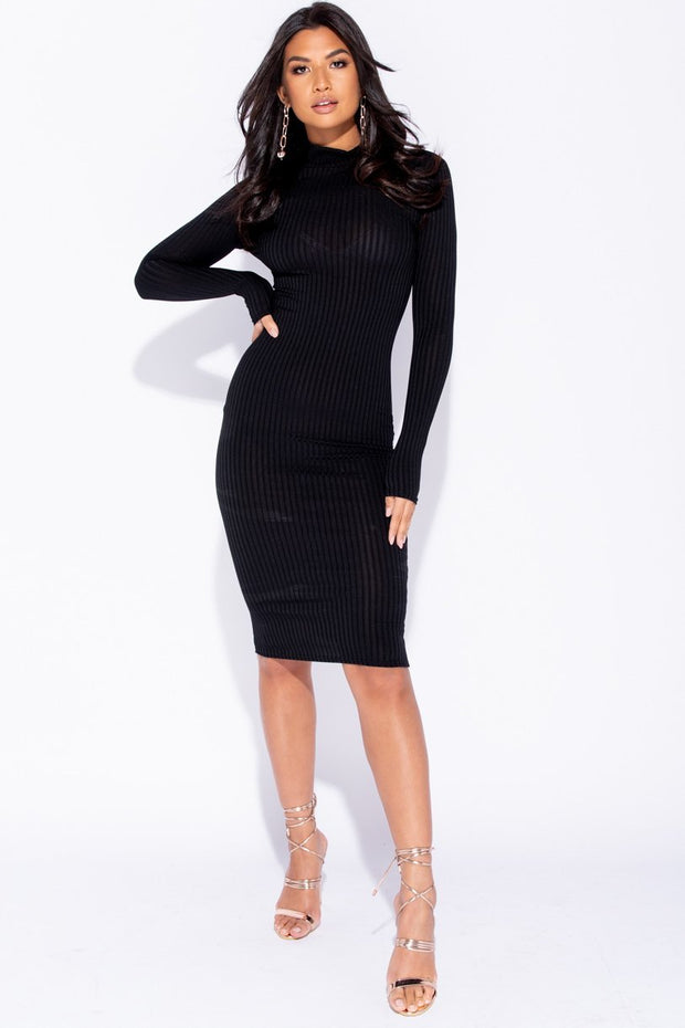 Image: Black Skinny Rib Knit High Neck Midi Dress - Parisian-uk