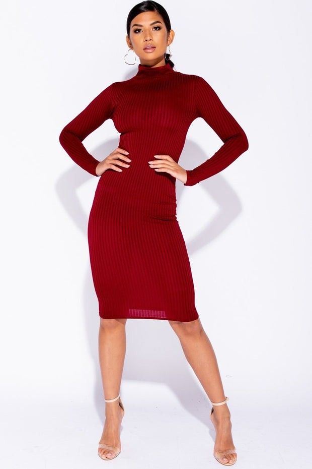 Image: Wine Skinny Rib Knit High Neck Midi Dress