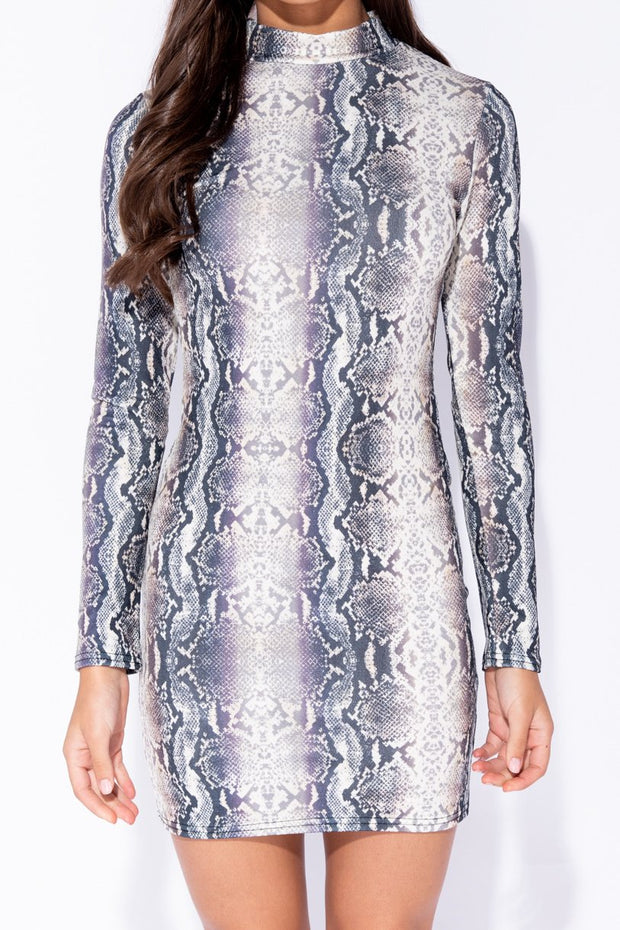 Image: Snake Print High Neck Bodycon Mini Dress
