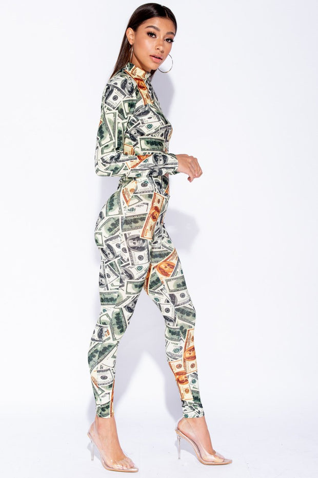 Image: Green Dollar Print High Neck Long Sleeve Crop Top And Trouser Set