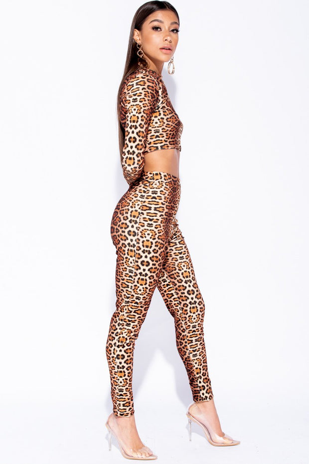 Image: Leopard Print Long Sleeve Crop Top And High Waist Trouser Set