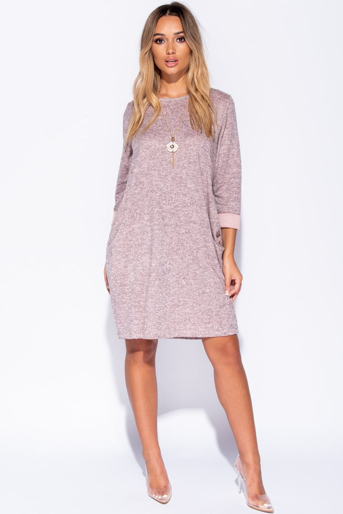 Pink Necklace Trim Jersey Dress