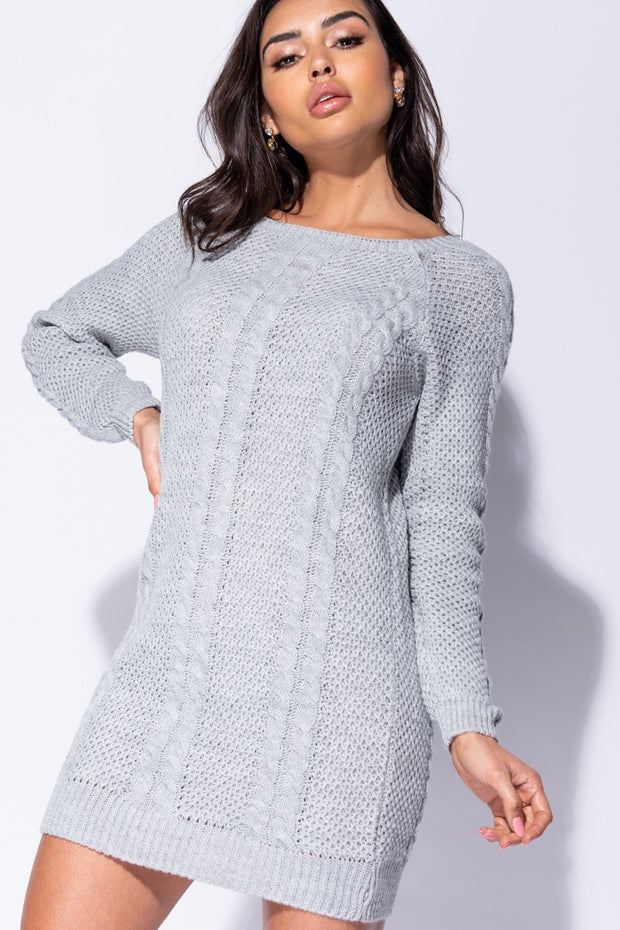 Image: Grey Cable Knit Detail Jumper Dress
