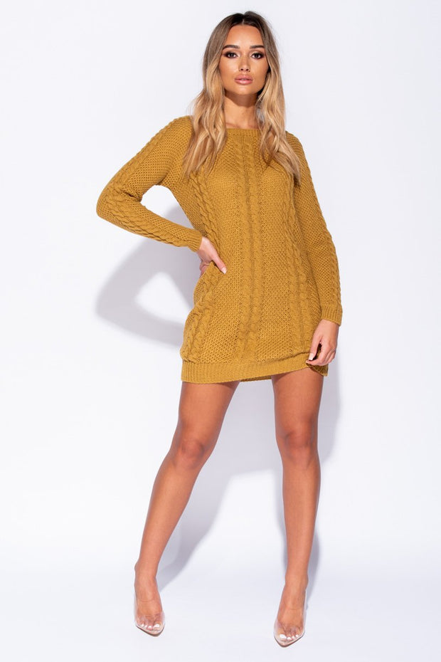 Image: Mustard Cable Knit Detail Jumper Dress
