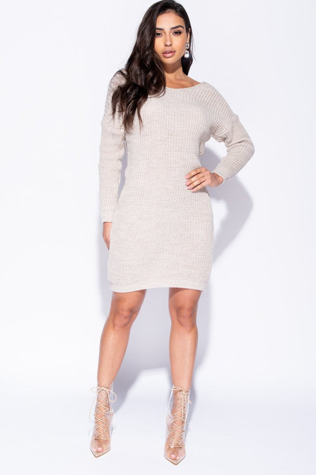 Image: Beige Rib Knit Twist Back Jumper Dress - Parisian-uk