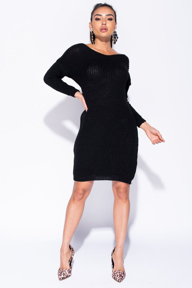 Image: Black Rib Knit Twist Back Jumper Dress