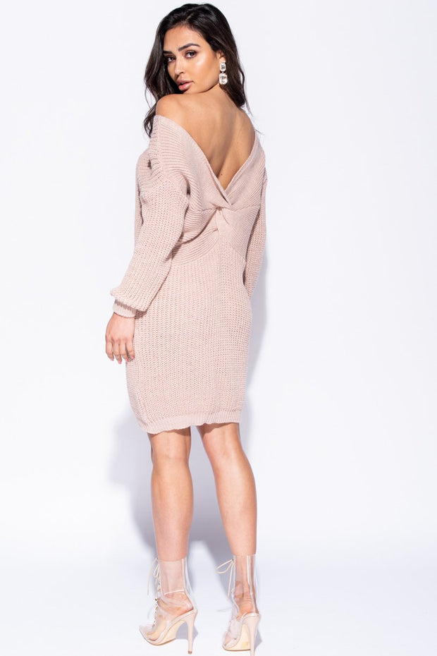 Image: Pink Rib Knit Twist Back Jumper Dress