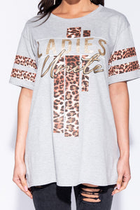 Grey Leopard Print Ladies Unite Logo T-Shirt - Parisian-uk