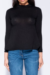 Black Turtleneck Open Back Long Sleeve Top - Parisian-uk